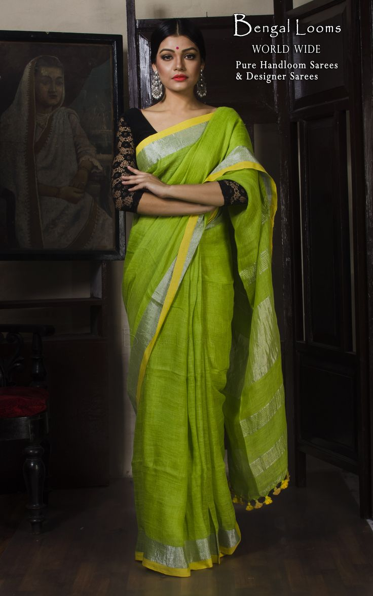 Linen Saree With Silver Zari Border and in Lime Green Color