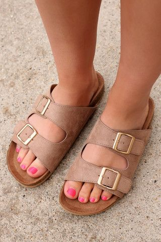 Taupe Double Strap Birkenstock Sandals LATASHA - S | UOIOnline.com: Women's Clothing Boutique