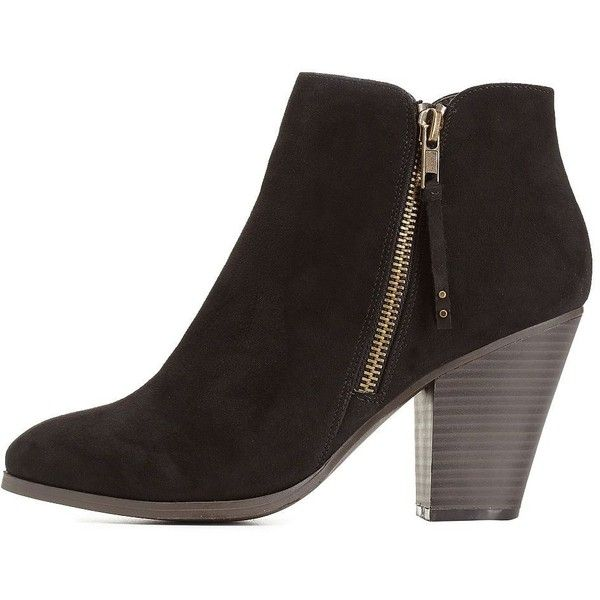 Charlotte Russe Black Side-Zip Chunky Heel Booties by Charlotte Russe... (490 ZAR) ❤ liked on Polyvore featuring shoes, boots, ankle booties, black, black bootie, faux suede booties, short black boots, chunky black booties and chunky heel boots