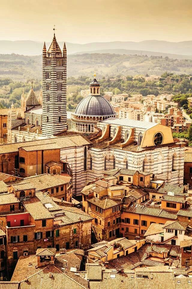 Siena city in Tuscany, Italy. Siena is famous for its cuisine, art, museums, medieval cityscape and the Palio, a horse race held twice a year.