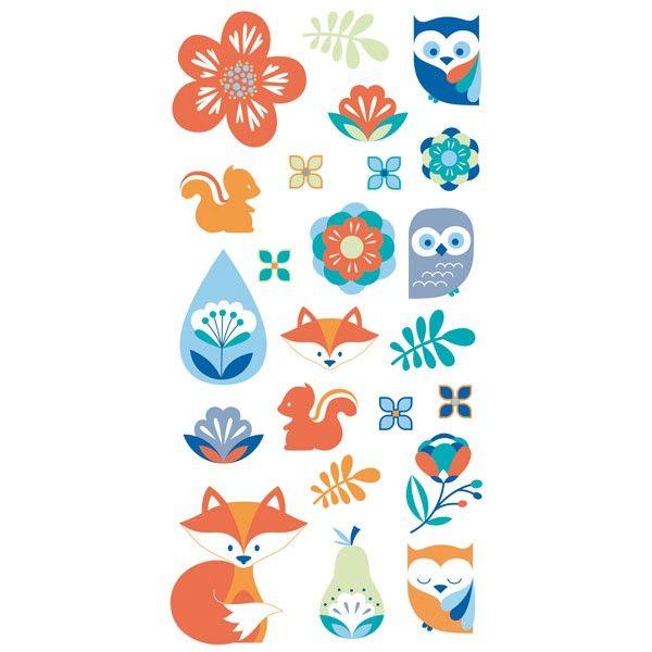 Ces autocollants 3D donnent du relief à vos créations - Motifs orange et bleus : écureuil, renard, hibou, fleur, feuille, poire, chouette - Youdoit