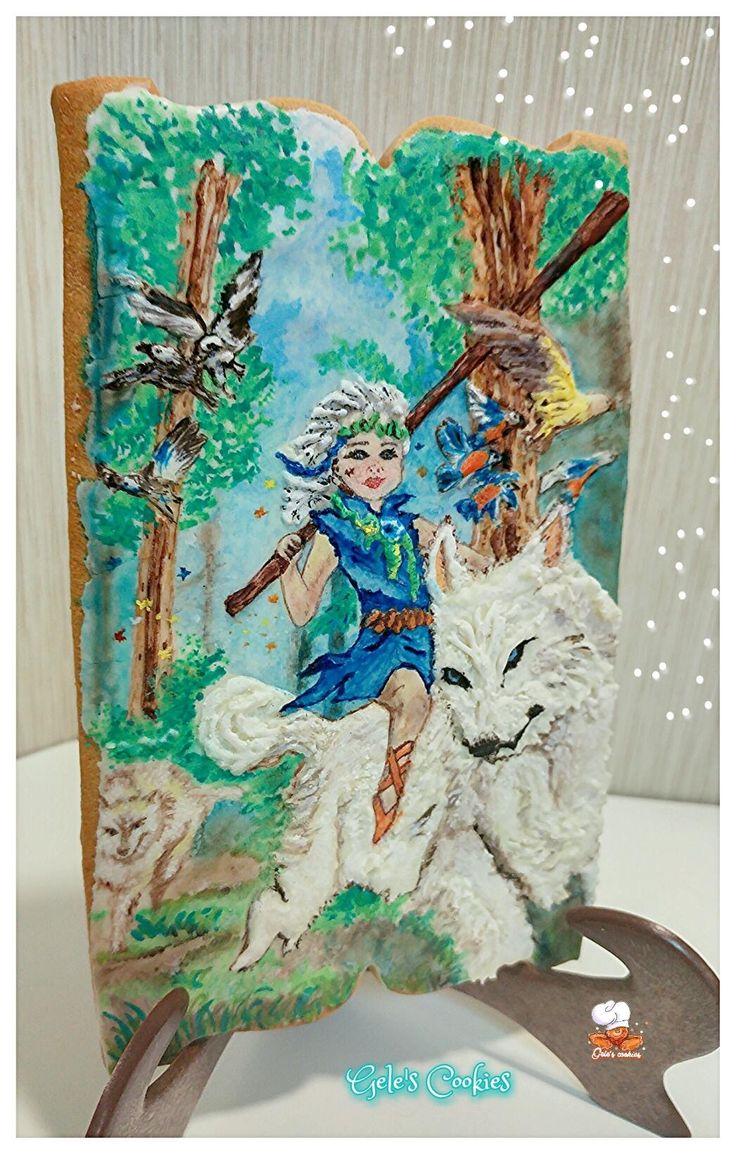 Galleta hada del bosque  Royal icing, pintada a mano