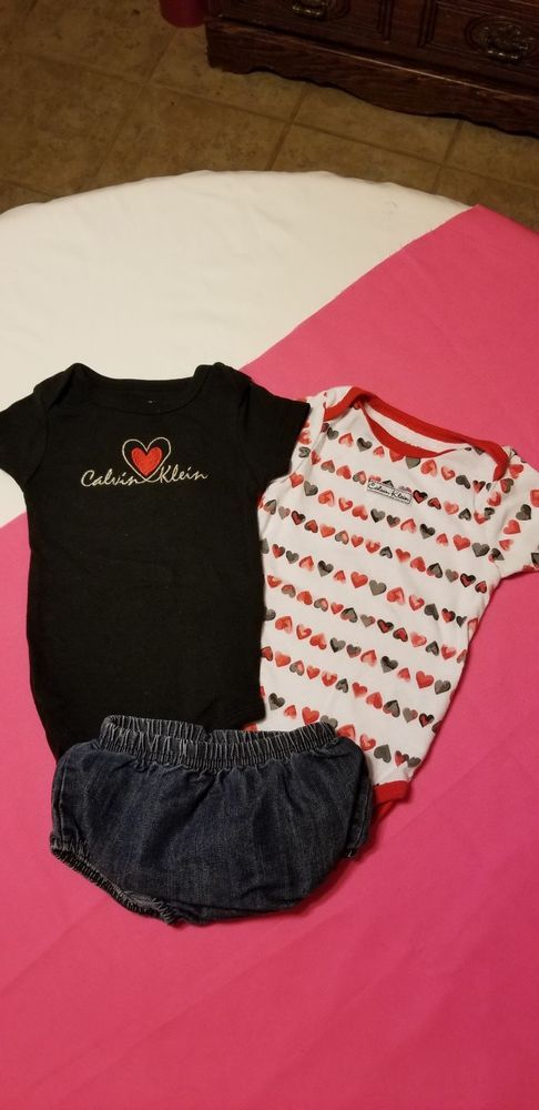 e2d80f16d9dc Infant Girls Calvin Klein Onsies And Jean Bloomers