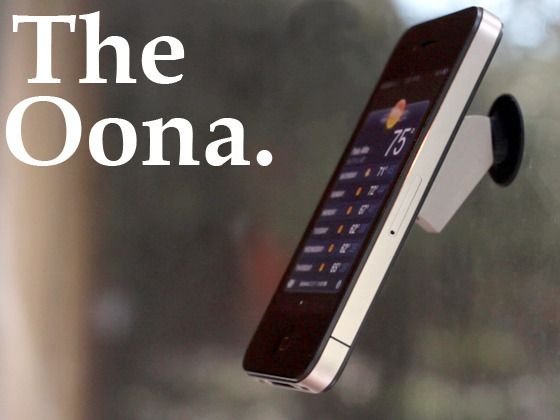 the oona, iphone stand, by sam gordon, brad and danny. mounts almost anywhere, even a tripod.