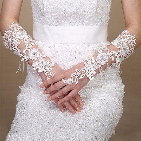 Bridal Fingerless Gloves Rhinestone Lace Flower Bride Wedding Party Prom Dress