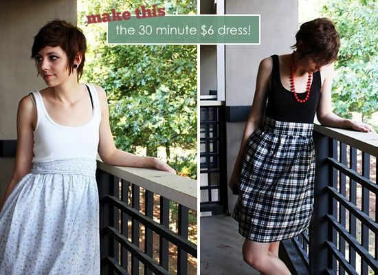 make a quick dress.  This girl's blog is awesome!Diy Dresses, Summer Dresses, Dress Tutorials, Dresses Tutorials, Cute Dresses, Tanks Tops, Minute Dresses, 30 Minute, Sewing Machine