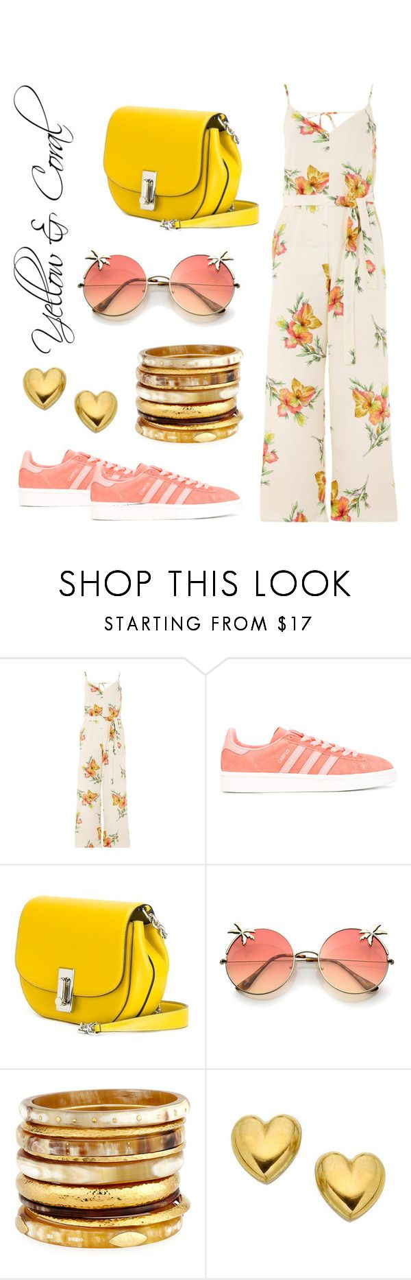 """Floral yellow & coral jumpsuit"" by ana-amorim ❤ liked on Polyvore featuring Topshop, adidas Originals, Marc Jacobs and Ashley Pittman"
