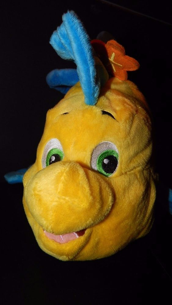 DISNEY ARIEL LITTLE MERMAID FLOUNDER FISH PLUSH PURSE TOTE COSTUME TREAT BAG  #Disney