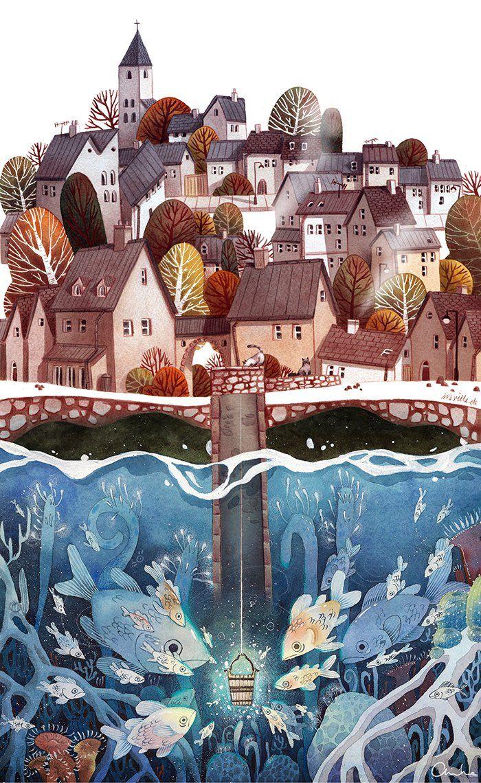 Watercolor artist magazine customer service - Ira Sluyterman There S Kitties On Top Of The Well