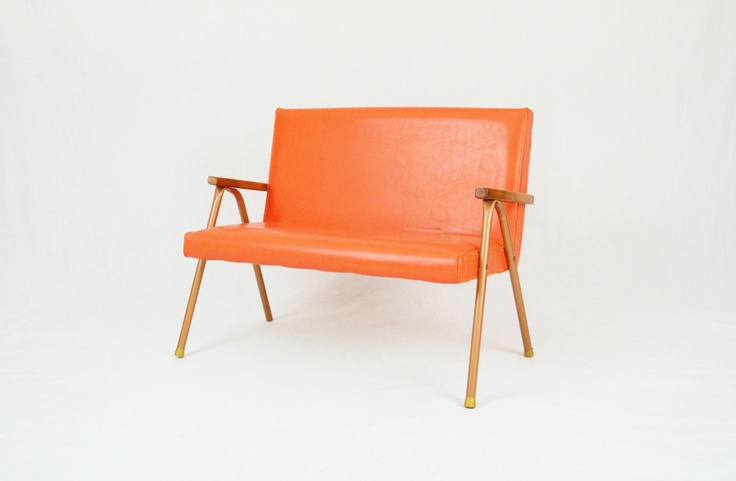Mid Century Orange Vinyl Child's Bench
