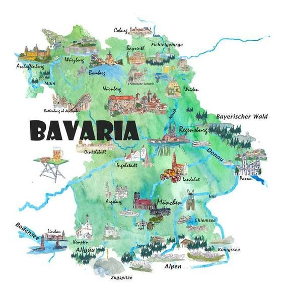 Bavaria Germany Illustrated Travel Poster Map Fine Art Print Etsy In 2020 Travel Posters Map Poster Bavaria Germany