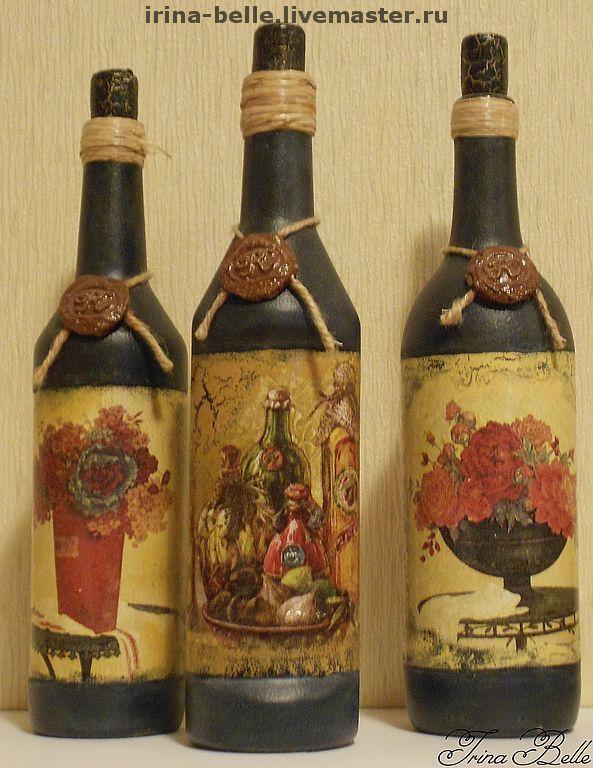 """Купить Бутылки """"Из старого погребка"""" - бутылки для вина, старинные бутылки, сургучная печать"""