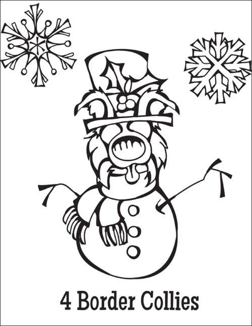 Free Coloring Page Download … 4 Border Collies from the Twelve Dogs of Christmas http://www.scoutdogstudios.com/images/12dogs/4-border-collies-bw.pdf