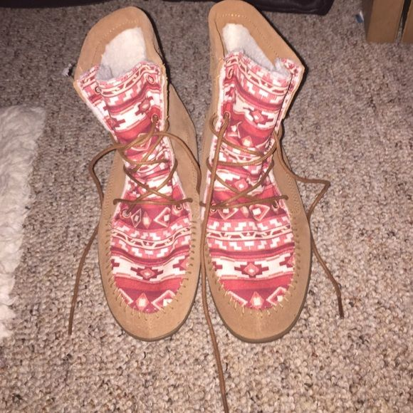 Vans Boots super cute boots with pink aztec detailing, never been worn Vans Shoes Ankle Boots & Booties
