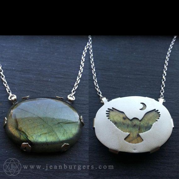 Owl and Moon Labradorite Pendant - Handcut sterling silver and labradorite - Spirit Animal Series