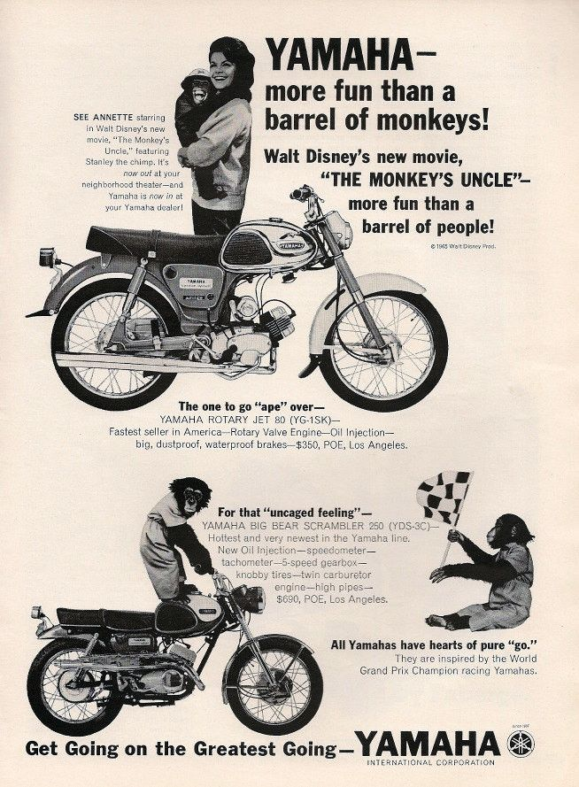 """1965 Yamaha Rotary Jet Motorcycle Ad """"Annette Funicello"""""""