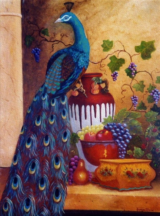 Image detail for -The Peacock Painting by Jeanene Stein - The Peacock Fine Art Prints ...