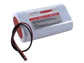 Li-Ion 18650 3.7V 4400 mAh Rechargeable Battery module with PCB by Tenergy. $17.99. Features and Benefits   * High quality 3.7 V Li-Ion rechargeable battery pack  * Made of 2 2200mAh cylindrical 18650 cells with PCB and poly switch for full protection  * Light weight and higher energy density than any rechargeable battery  * No memory effect and rechargeable  * Longer storage life than NiMH battery  * You can build 7.4V/4.4Ah Li-Ion battery pack by connecting two or t...