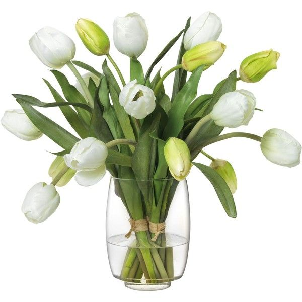 Diane James White Tulip Bouquet in Glass Vase (705 AUD) ❤ liked on Polyvore featuring home, home decor, floral decor, flower stems, white tulip bouquet, white fake flowers, white bouquet and white flower bouquet