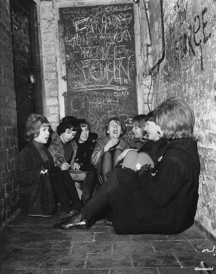 Girls waiting for The Beatles's lunchtime session, the Cavern Club, c.1960s.