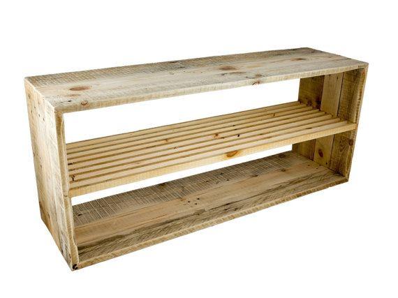 decorative recycled pallet wood shoe rack by DeWeDo on Etsy