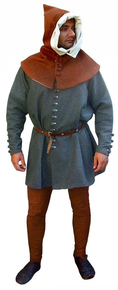 Completo XIV secolo B, Medioevo - Abbigliamento medievale - Costumi Medievali (uomo) - Abito XIV secolo, comprende sopraveste, camicia, chasses, cintura, cappuccio in lana.