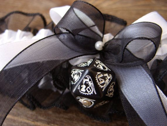 D20 dice garter dungeons and dragons gamers wedding bridal accessory geek rpg dragon dice white black
