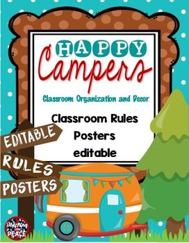 "A set of ""Happy Camper"" classroom rules posters with a camping theme!Included in the download are two files. One is a pdf and has the whole brain teaching five rules for classroom management. The other is a PowerPoint file which will allow you to edit the text and create your own rules for your classroom (or any other sign you may need).Check out the other ""Happy Campers"" items in my store!Camping Classroom Theme Daily Reading and Math Rotation Signs and Cards editableCamping Classroom…"
