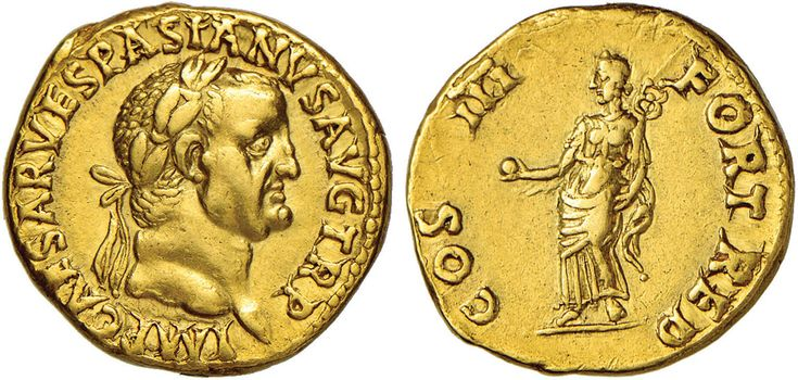 NumisBids: Nomisma Spa Auction 50, Lot 26 : ROMA IMPERO Vespasiano (69-79) Aureo (Lione) – Testa laureata a d....