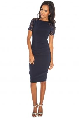 navy wedding guest dress | ... Wedding Guest Dresses › Adrianna Bodycon Lace Shoulder Dress Navy