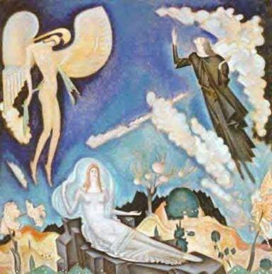 """ΠΙΝΑΚΑΣ Κ ΠΑΡΘΕΝΗΣ """"Αποθέωση του Αθανασίου Διάκου"""" (1931). Ελαιογραφία"""