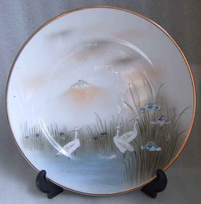 "JAPANESE HAND PAINTED CHINA 8.5"" PLATE CRANES IRISES Antique Home Decor OLD!"