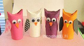 Askarteluohje pöllöt | Hepokatti.fi >> askarteluohjeita lapsille, värityskuvia, tehtäviä lapsille, leikkivinkkejä...