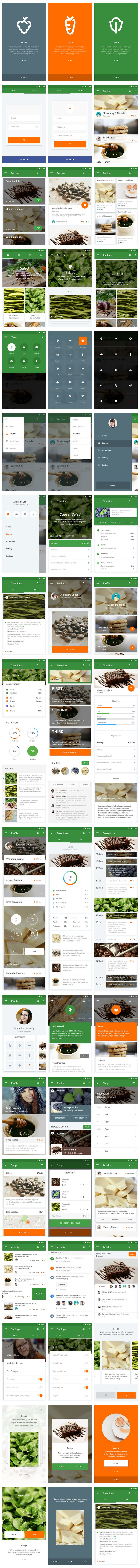Material UI Kit: Cooking #MaterialDesign #UI #Mobile #App