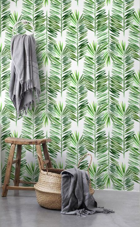 Palm tree wallpaper Palm leaves wall decor Removable by BohoWalls