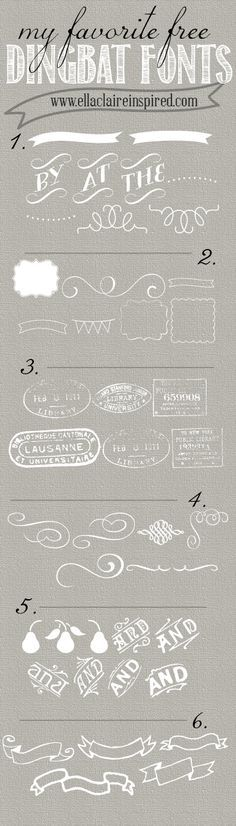 Free wedding fonts - Links to 6 free Dingbat fonts - great for wedding invites, program, menus http://www.oliverink.etsy.com