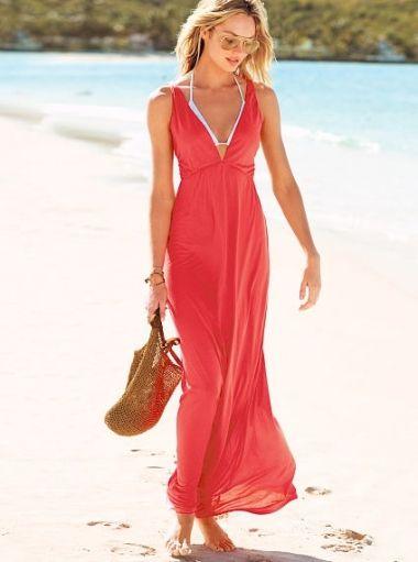 Long red beach dress - omdear.com