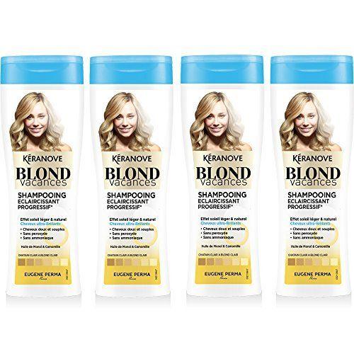 Kéranove Blond Vacances Shampoing Éclaircissant Progressif à l'Huile de Monoï/de Camomille – Lot de 4: Le Shampoing Eclaircissant…