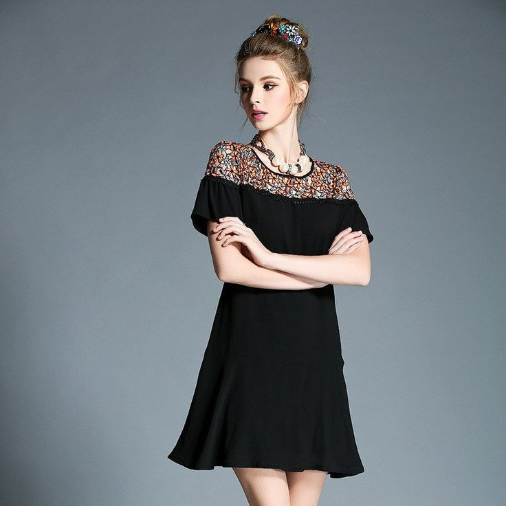Short Sleeved Crochet Lace Inset Black Woven Fit Flare Summer Dress Plus Size l to 4xl 5xl