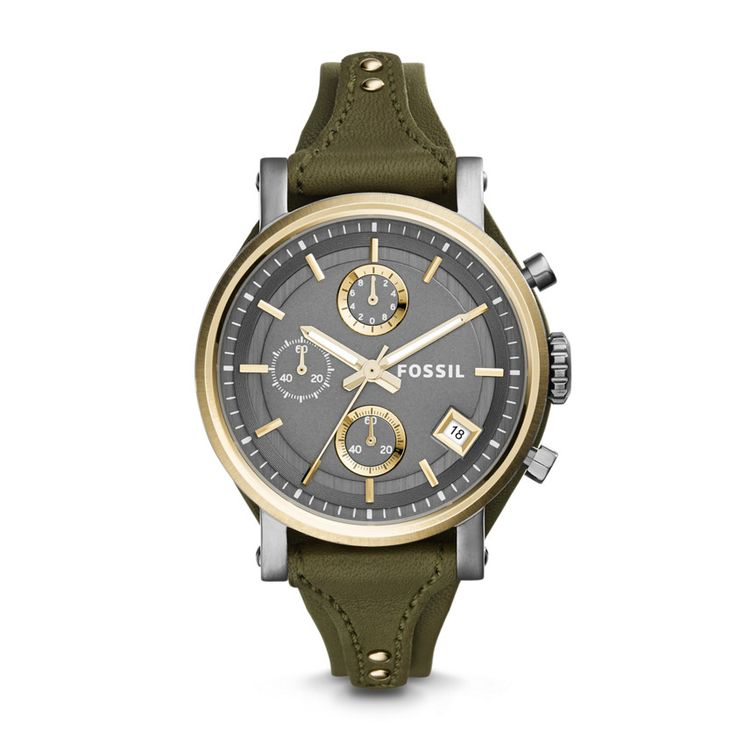 ES3839 - Original Boyfriend Chronograph Leather Watch – Green  this looks like something I would wear if I were an explorer or an archaeologist