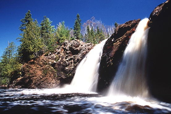 Little Manitou Falls sits just upstream from Wisconsin's tallest waterfall. To see this beautiful treasure visit Pattison State Park in Superior, Wisconsin.
