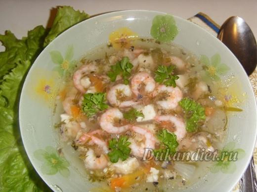 Суп с креветками и тофу | Диета Дюкана
