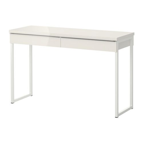 IKEA - BESTÅ BURS, Desk, , Can be placed anywhere in the room because the back is finished.The high gloss surfaces reflect light and give a vibrant look.