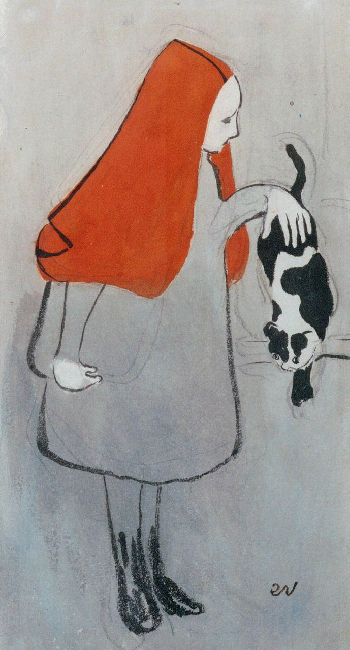 Éduard Vuillard, Jeune fille au chat, 1891  (would pass as a fashion illo) (how cool is this! i wanna make stuff like this! :))