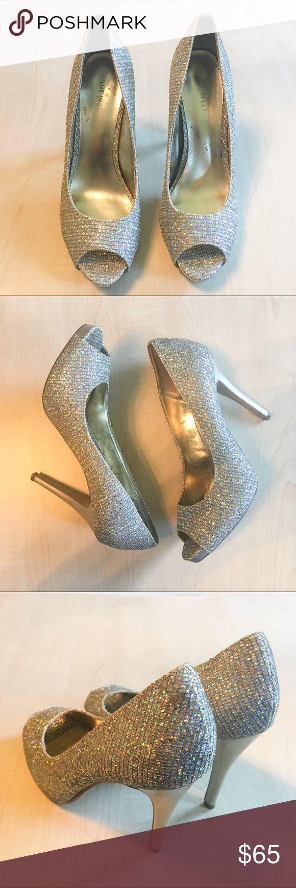 Nine West Liatriso Peep Toe Sparkle Heels Nine West Liatriso Gold Sparkle Pee Toe Heels   -C- Nine West Shoes Heels