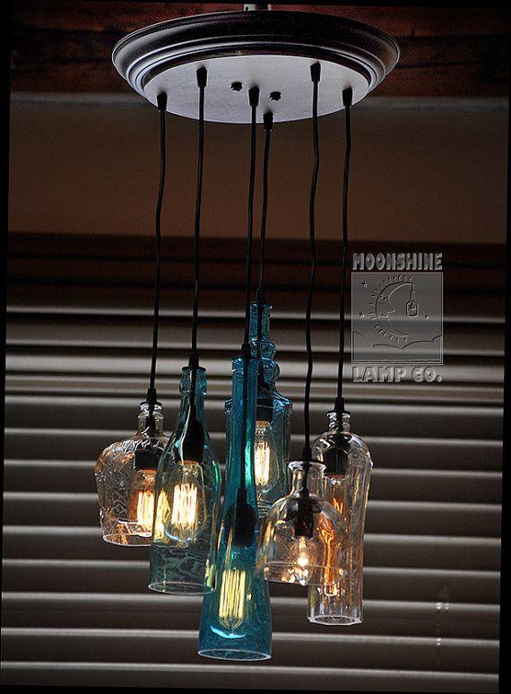 The Glendora Recycled Bottle Light Chandelier
