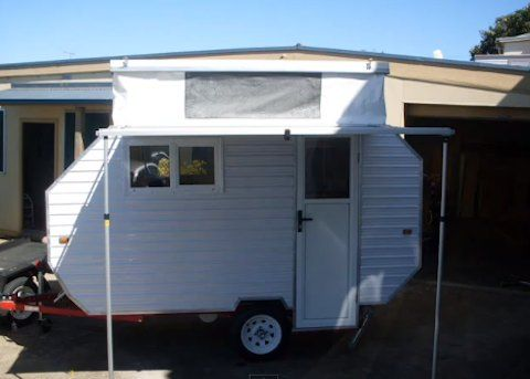 home built light weight pop up top travel trailer can tow with any car travel trailers. Black Bedroom Furniture Sets. Home Design Ideas