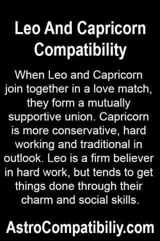 When Leo and Capricorn join together in a love match ...
