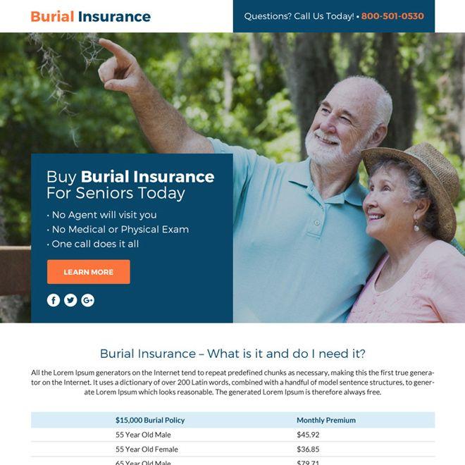 Download Burial Insurance Lead Funnel Responsive Landing Page
