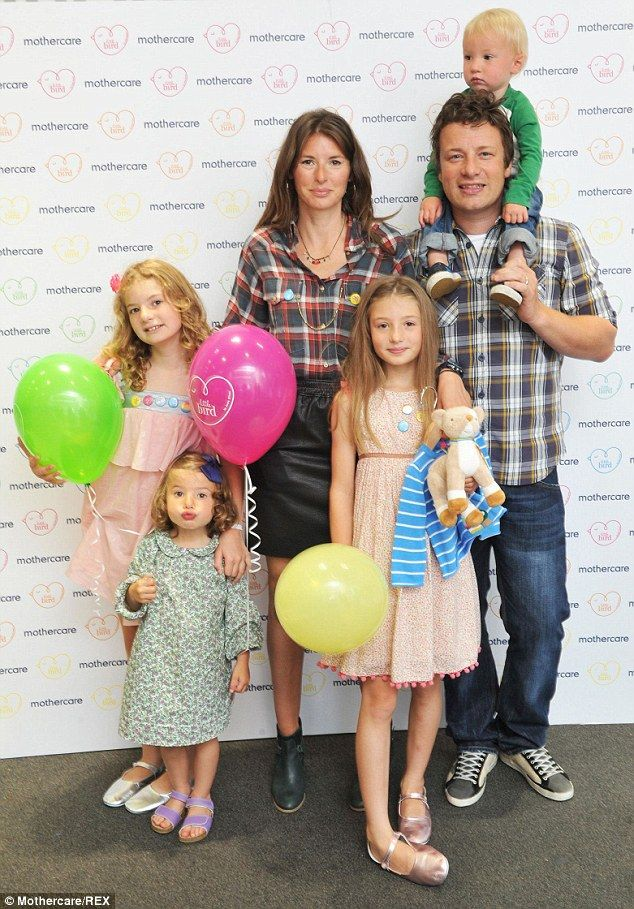 Jamie Oliver and wife Jools with their 4 kids: Poppy Honey Rosie, 12, Daisy Boo Pamela, 11, Petal Blossom Rainbow, five, and son Buddy Bear Maurice, 4 (2014)